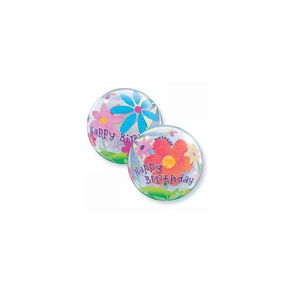 22 inch-es Birthday Funky Flowers Szülinapi Bubble Lufi
