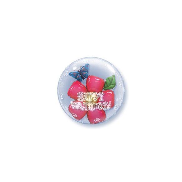 Virágos Szülinapi Dupla Buborék Lufi - 61 cm