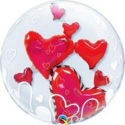Szíveső Szerelmes Héliumos Dupla Buborék Léggömb - 61 cm