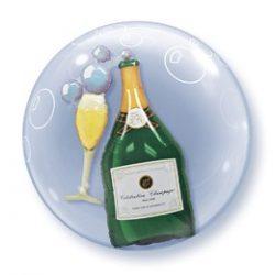 24 inch-es Pezsgősüveg és Pohár - Bubbles Champagne Double Bubble Lufi
