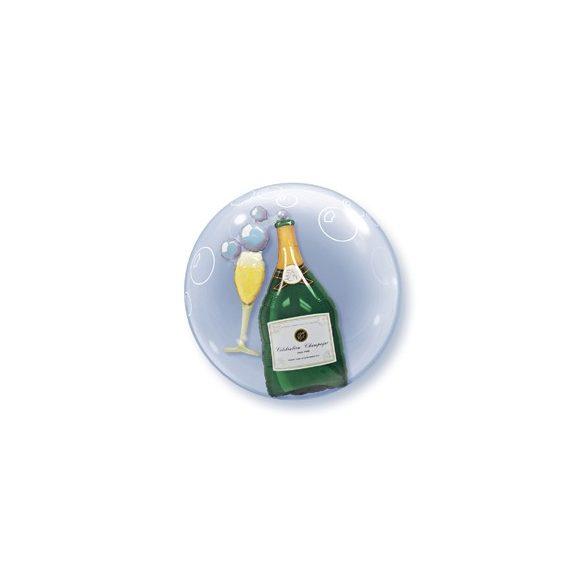 Pezsgősüveg és Pohár Dupla Buborék Lufi, 61 cm