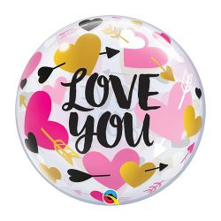 Nyíllal Átlőtt Szív Mintás Szerelmes Héliumos Buborék Lufi, 56 cm