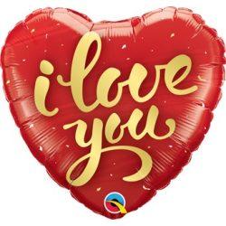 Szerelmes I Love You Feliratos Szív Alakú Héliumos Fólia Lufi, 46 cm