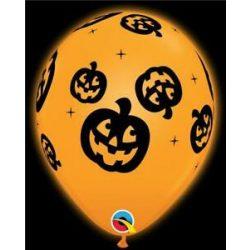 11 inch-es Q-lite LED Jack O'Lantern - Tökfej Mintás Halloween Világító Lufi (4 db/csomag)