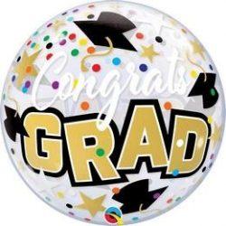 22 inch-es Congrats Grad Stars & Dots- Ballagási Bubbles Lufi