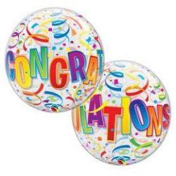 22 inch-es Congratulations Around - Ballagási Bubbles Lufi