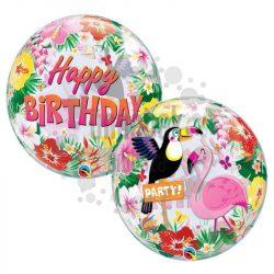 Trópusi Vidám Tukán és Flamingó Mintás Szülinapi Party Buborék Lufi, 56 cm