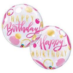 22 inch-es Birthday Pink & Gold Dots Szülinapi Bubble Lufi q87745