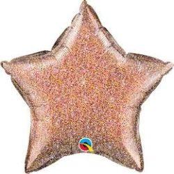 Fénylő - Csillogó Rózsaarany Csillag Alakú Fólia Lufi, 51 cm