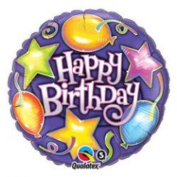 18 inch-es Csillagok, Lufik - Birthday Stars és Balloons Szülinapi Fólia Lufi