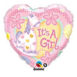 18 inch-es Lány Póni It is A Girl Soft Pony Baby Fólia Lufi Babaszületésre