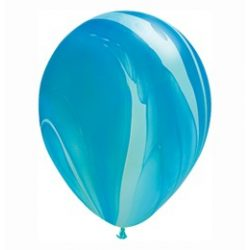 11 inch-es Blue Rainbow SuperAgate Kerek Latex Lufi