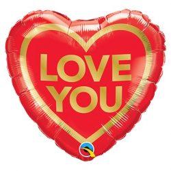 Arany Piros - Love You Golden Heart - Héliumos Szív Fólia Lufi, 46 cm