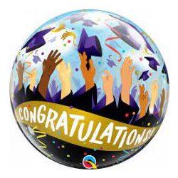 Gratulálok Ballagási Mintás Héliumos Buborék Lufi, 56 cm