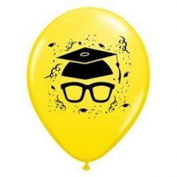 11 inch-es Szemüveges Yellow Ballagási Lufi