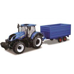 Bburago 1/32 traktor - New Holland traktor utánfutóval